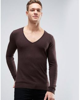 Extreme V Neck Jumper In Muscle Fit