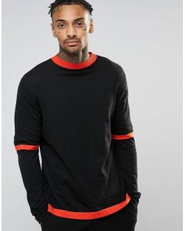 Jumper With Double Sleeve In Cotton