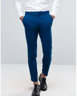 Wedding Skinny Suit Pant In Blue Micro Texture