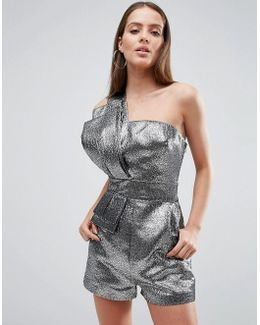 80's Metallic One Shoulder Playsuit In Silver
