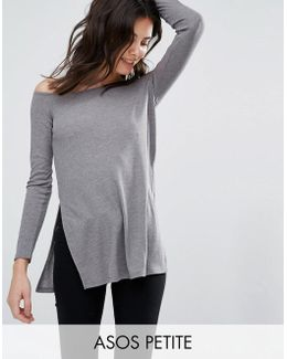 Off Shoulder Slouchy Top With Side Splits