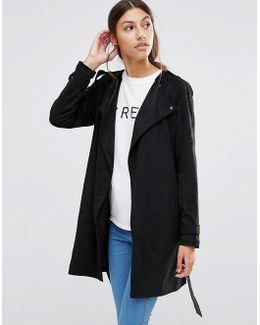 Faux Suede Belted Jacket