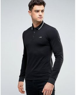 Polo Shirt With Tipping In Black Slim Stretch Fit Long Sleeves