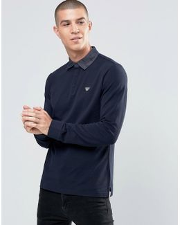 Polo Shirt With Denim Collar In Navy Long Sleeves