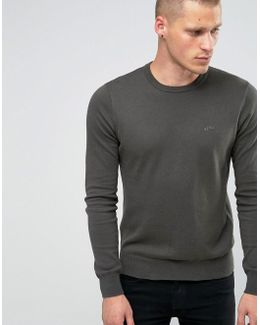 Jumper With Crew Neck & Logo In Green