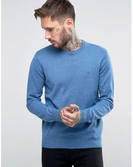 Jumper With Crew Neck & Logo In Blue