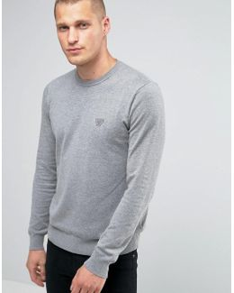 Jumper With Crew Neck With Eagle Logo In Grey
