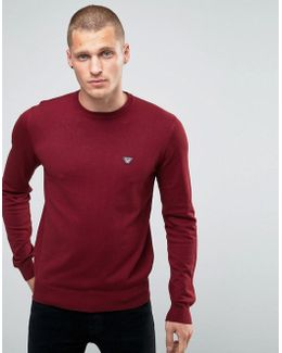 Jumper With Crew Neck With Eagle Logo In Burgundy