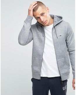 Zip Up Hoodie With Logo In Grey