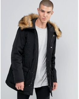Parka With Faux Fur Trim In Black