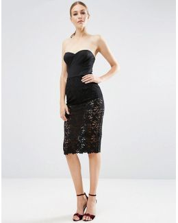 Lace Cupped Scuba Midi Pencil Dress