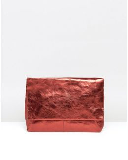 Leather Metallic Flap Over Clutch Bag