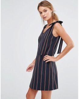 Stripe Bow Shoulder Dress