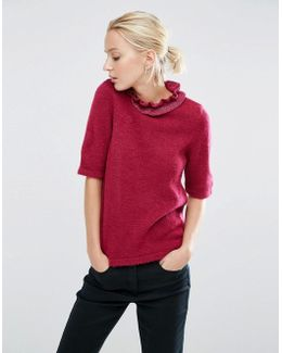 Jumper With Ruffle High Neck