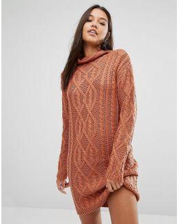 Chunky Cable Knit Mini Dress