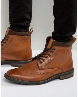 Lace Up Brogue Boots Tan Leather