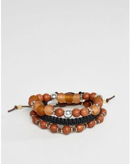Beaded Bracelet Pack In Brown