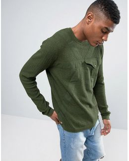 Knitted Textured Jumper With Woven Pocket
