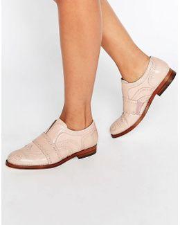 Maddie Blush Leather Slip On Brogues