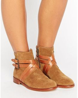 Atlas Suede Strap Flat Ankle Boots
