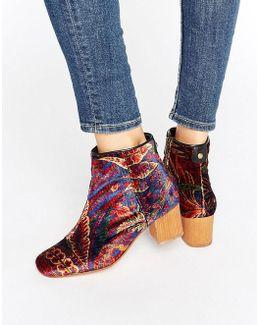 Garnett Liberty Velvet Mid Ankle Boots