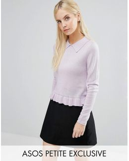 Jumper With Collar In Metallic