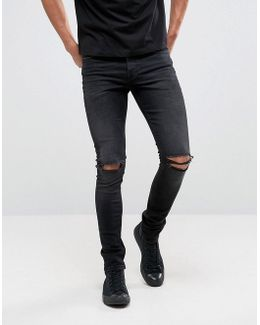 Super Skinny 12.5oz Jeans With Knee Rips In Washed Black