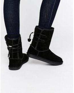 Bridia Tie Back Black Nubuck Boots