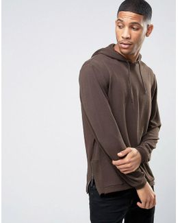 Hoodie In Crepe With Side Zips