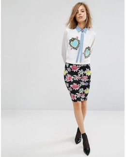 Rose Repeat Jersey Pencil Skirt