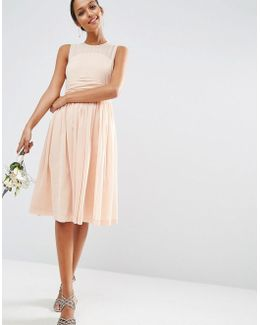 Wedding Midi Dress With Rouche Panel Detail