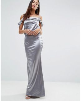 Drape Shoulder Detail Satin Fishtail Maxi Dress