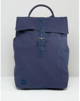 Canvas Fold Top Backpack In Navy
