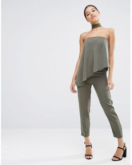 Bandeau Jumpsuit With Ruffle Overlay