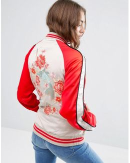 Bomber Jacket With Fish Embroidery