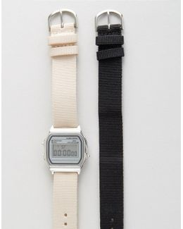 Pack Of 2 Interchangeable Neutral Straps Digital Watch Set