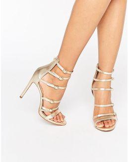 Nandra Buckle Strap Leather Platform Heeled Sandals