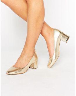 Falia Gold Leather Block Mid Heeled Shoes