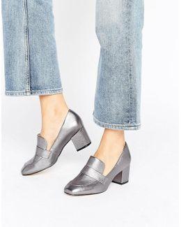 Emmaline Pewter Leather Block Heeled Loafers