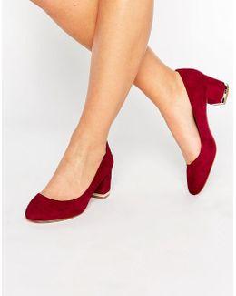 Falia Leather Block Mid Heeled Shoes