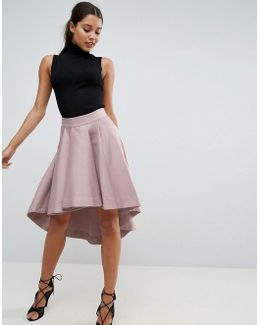 Premium Dip Back Prom Skirt In Structured Fabric