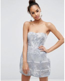Silver Lace Caged Bandeau Mini Prom Dress