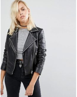 Leather Biker Jacket With Stud Detail