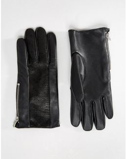 Leather Gloves With Faux Snake Insert In Black