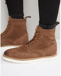 Brogue Boots In Tan Suede
