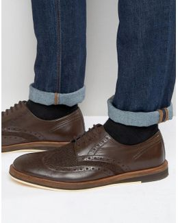 Textured Brogues In Brown Leather