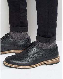 Milled Brogues In Black Leather