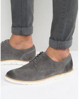 Derby Shoes In Grey Suede