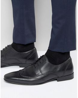 Brogue Wing Tip Shoes In Black