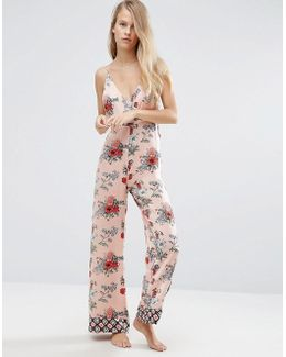 Premium Mixed Floral & Tile Print Satin Jumpsuit